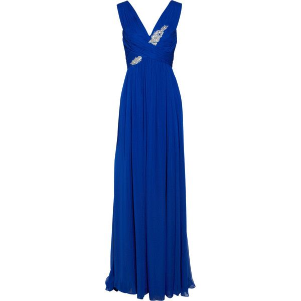 Notte by Marchesa Embellished silk-chiffon gown (9,185 MXN) ❤ liked on Polyvore featuring dresses, gowns, blue evening gown, royal blue evening gown, sequin dress, blue sequin dress and royal blue dress