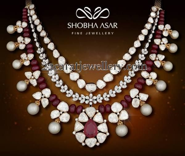Jewellery Designs: Ruby Beads Diamonds By Shobha Asar