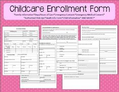 """$3.00 Enrollment Form for Home Childcare. *Meets all licensing requirements for Washington State*  Includes fields for: - Child information - Days/Hours of care - Parent Contact Info - Emergency Contact Info - Consent for medical care - Authorized/Unauthorized Pick Ups - Back-up Care Provider - Health Info - """"About Your Child"""" page"""