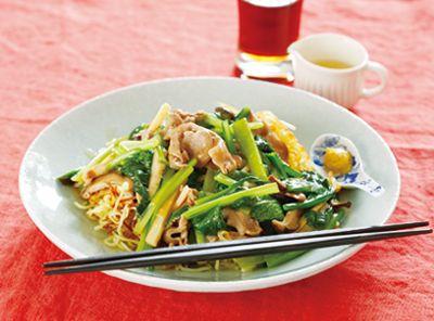 149.豚肉と小松菜のあんかけ焼きそば