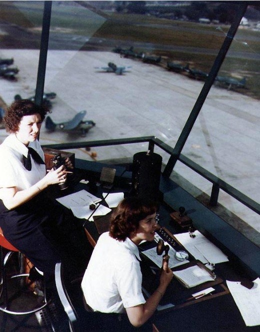 WAVES in air traffic control tower, WWII. Love that it shows women controlling!