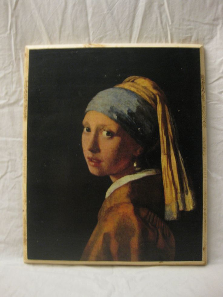 GIRL with a PEARL EARRING, wood board, wood wall art, Handmade wood print. Home decor, Dutch Golden Age Art di KnockOnWoodCraft su Etsy
