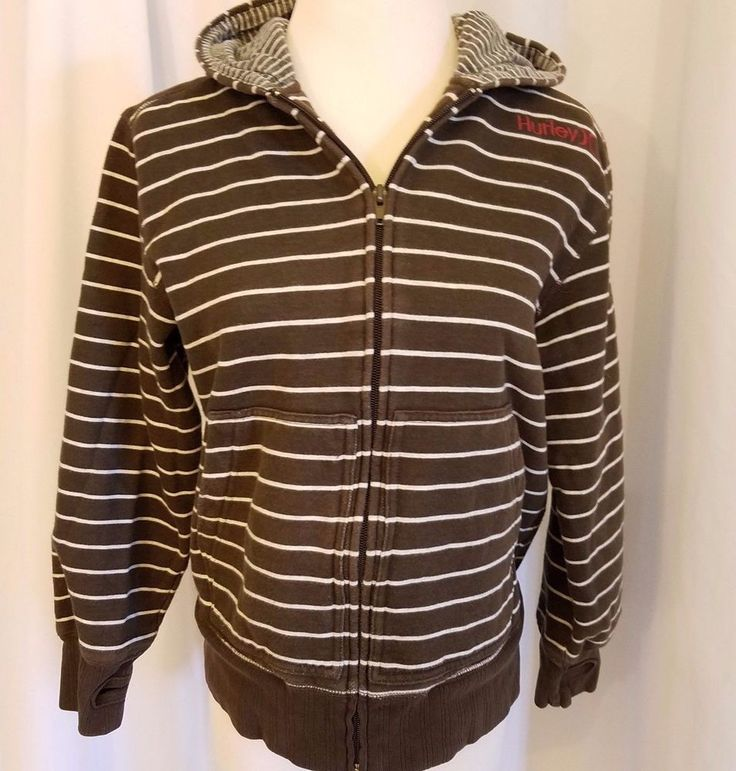 Hurley MED womens hoodie zip sweatshirt thumb holes brown cream stripe hooded EU #Hurley #Hoodie