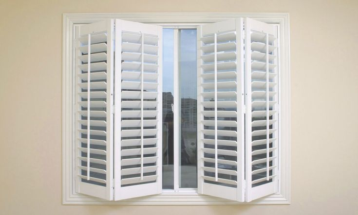 Interior shutter installed in folding windows the guide how to calculate the plantation for Window shutters interior prices