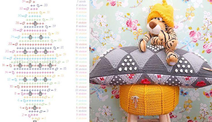 Crochet Pillow - Chart ❥ 4U hilariafina  http://www.pinterest.com/hilariafina/