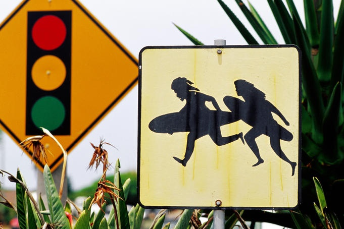 Surfers Crossing sign. To me this is rather adorable #Surfers #SanDiego #EpicSummerRun