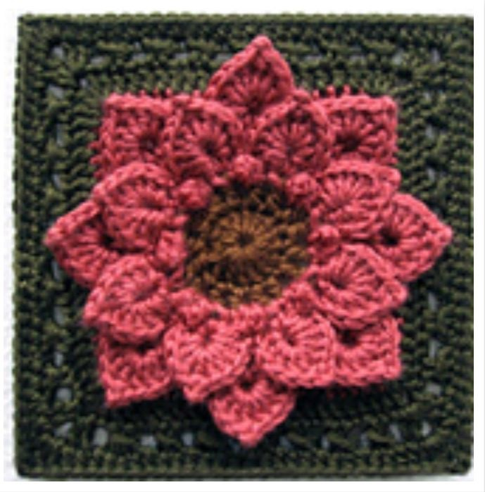 "Crocodile Stitch Dahlia 6"" Square Free Crochet Pattern"