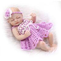 27 CM Completo Cuerpo de Silicona Realista Chica Durmiendo Mini Bebé Reborn Muñeca con Trajes de Ganchillo para Los Niños Regalo
