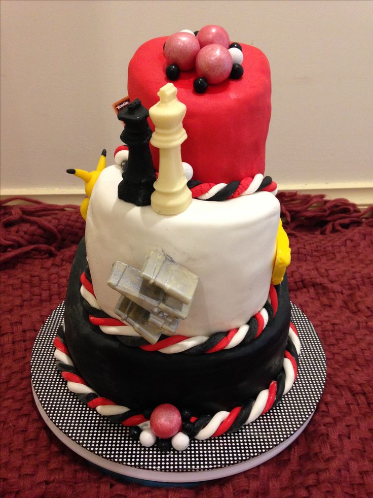 Tope Deck Games opening day cake June 2017  Red black white topsy turvy theme