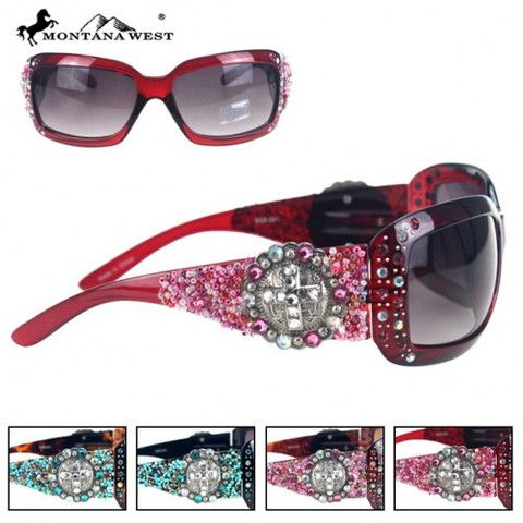 WESTERN SILVER CROSS CONCHO SUNGLASSES (BK/CF/LP/RD)  See more at http://www.montanawest.ca/collections/sunglasses