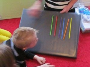 Put contact paper the flannel board to make a sticky board