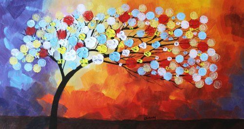 Abstract Flower Tree against Colorful Nightsky Very Vivid Color Acrylic Painting Original Contemporary Artwork Signed Handmade by Artist Cheney Modern Home Decor 20x36 Large, http://www.amazon.com/dp/B00HTUV8YQ/ref=cm_sw_r_pi_awdm_yA6Ctb0B4WTX8