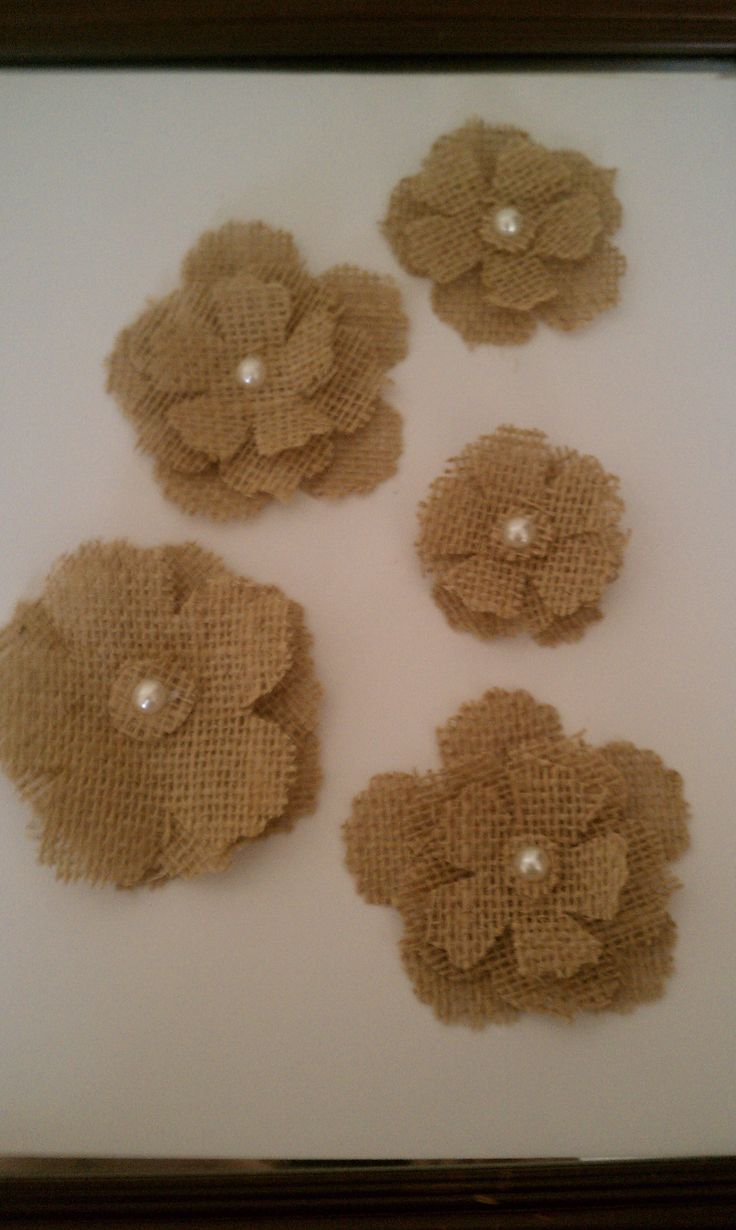Burlap flowers for the centerpieces