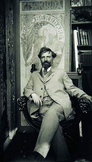 Alphonse Mucha, photographed in his bohemian studio.