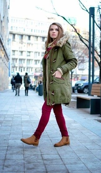 Women's Olive Parka, Beige Knit Oversized Sweater, Burgundy Skinny Jeans, Brown Suede Chelsea Boots