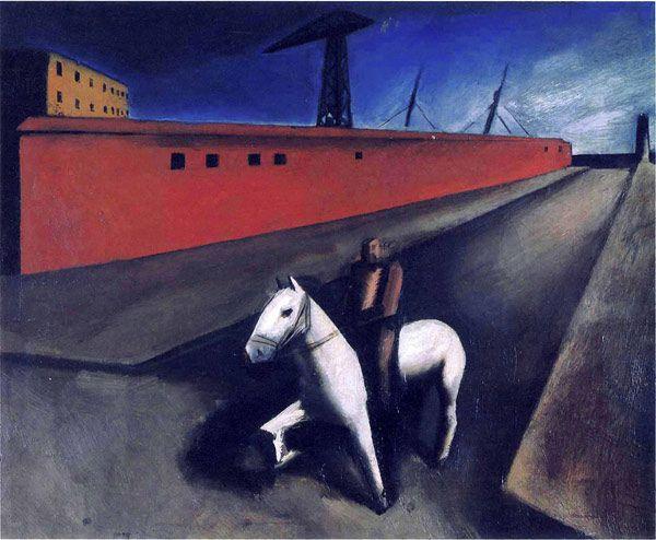 Mario Sironi – Cavallo bianco e molo, 1920-1921