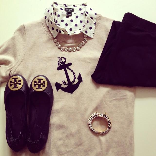 Light cream sweater. Polka dot collared shirt. Black pants/skirt/shorts. Flats. Short necklace.