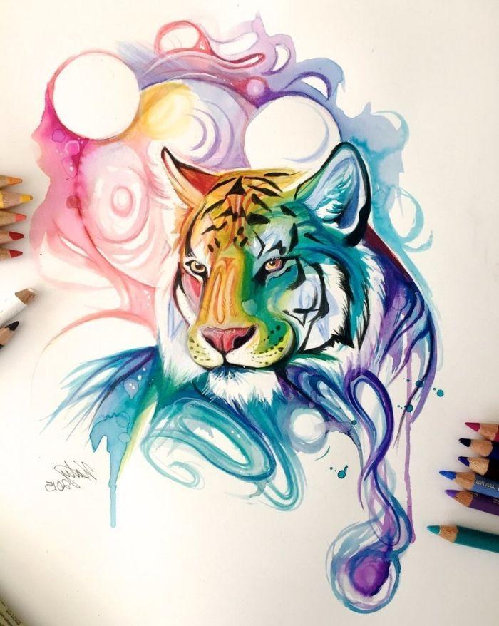 1001 Ideen Und Inspirationen Fur Schone Bilder Zum Nachmalen Buntezeichnungen In Unserer Bildergalerie Haben Wir Viele Sc In 2020 Watercolor Tiger Animal Art Art