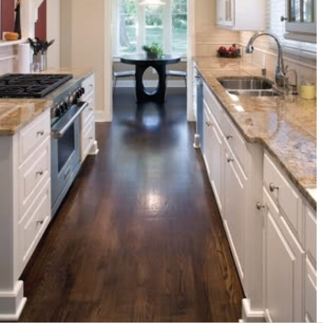 Dark Beige Kitchen Cabinets: Dark Hard Wood Floors, Tan Granite, White Cabinets