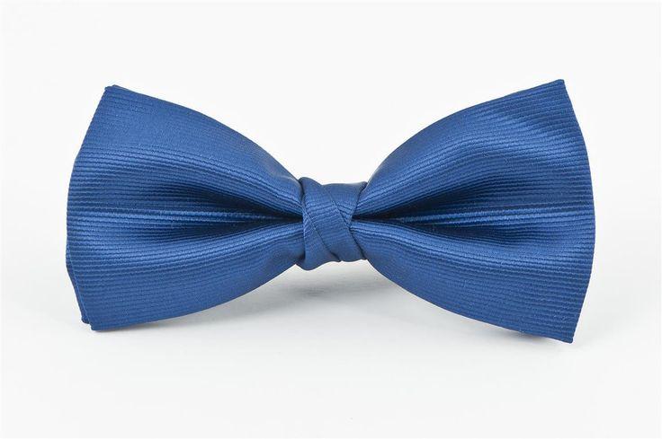 Mid Blue Self Stripe Bow Tie