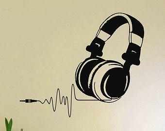 Vinyl Wall Decals Dj Headphones Audio Music Pulse Sign Decal Sticker Home Wall Decor Art Mural