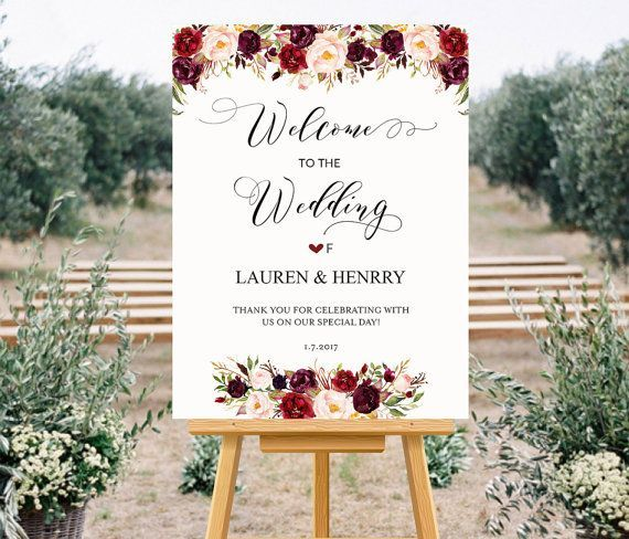 f3c6da1913745 Printable Wedding Welcome Sign Templates, Floral Wedding Sign ...