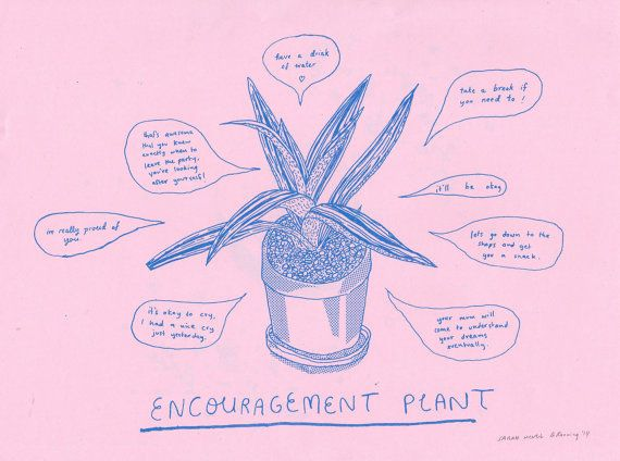 Encouragement Plant risograph print by ashleyronning on Etsy