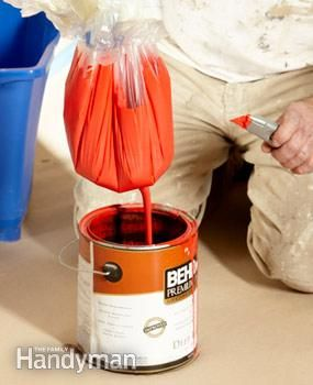 Painting Tips: Use a paint pail lined with a garbage bag instead of a messy paint tray. Cut a small hole to drain excess paint back in the bucket