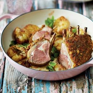 Lamb racks with an apricot herb crust