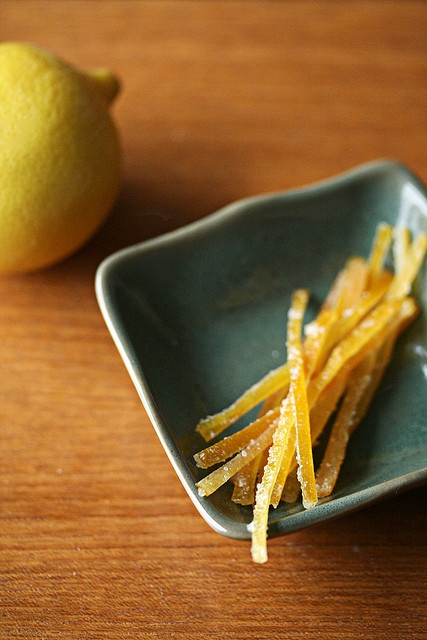 Candied Meyer Lemon Peels    6 Meyer lemons  11 cups cold water, divided  2 1/4 cups sugar, divided