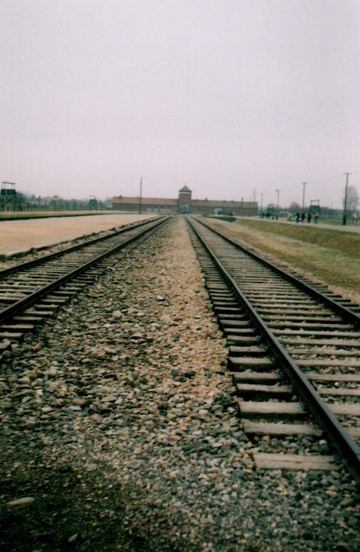 Train tracks at Auschwitz.