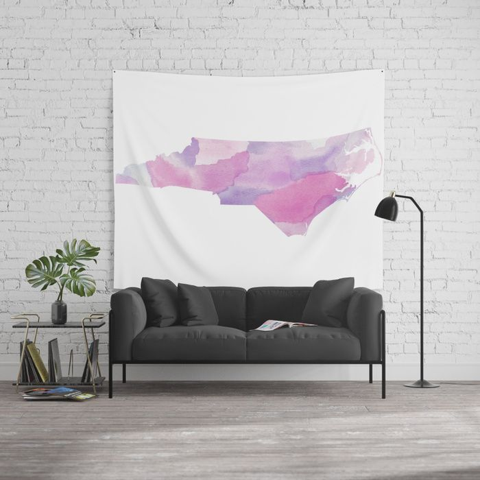 Watercolor State Map - North Carolina NC purples Wall Tapestry by Rocky.rivers