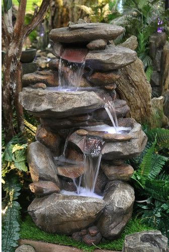 Gorgeous Alpine Fiberglass Rock Fountain with Light. So soothing. #ad