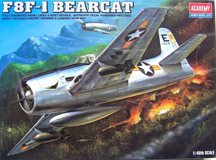 U.S.Dealer! New In Box !  Academy 1/48  Grumman F8F-1  Bearcat Fighter #Academy