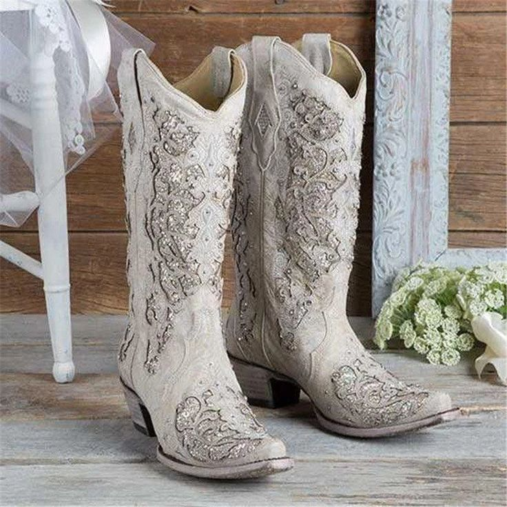 18++ White wedding boots square toe ideas