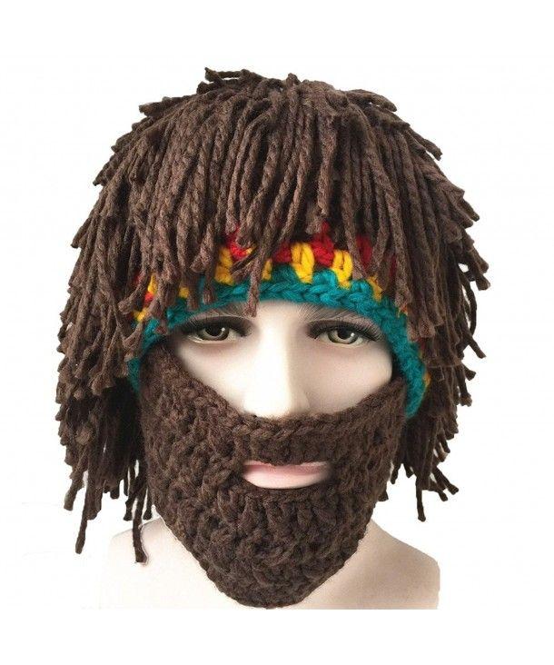 Men Boy Funny Wig Beard Hats Hobo Caveman Winter Knit Warm Hat Beanies Xmas