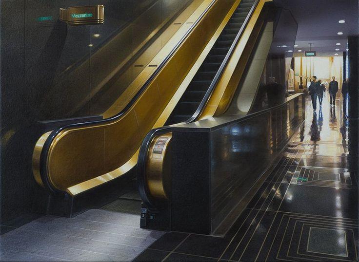 Hisaya Taira - Escalator #32 - Painting - Acrylic on canvas - 33 x 46 cm - hyperrealism