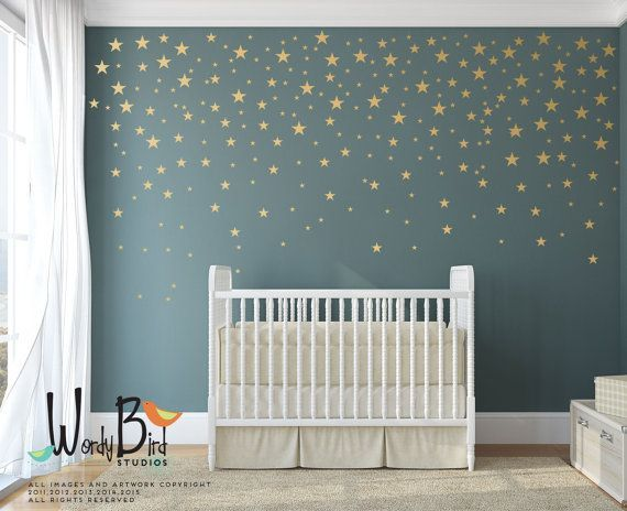 Gold Stars Wall Decals Pack - Peel and Stick Confetti Wall Decals - Metallic Star Wall Decals