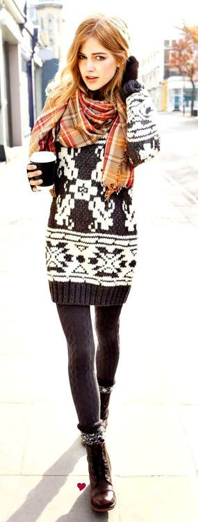 sweater dress ensemble, wool tights, scarf, boots  ...not a fan of this scarf with this though...I'd do maybe a solid to make it pop!