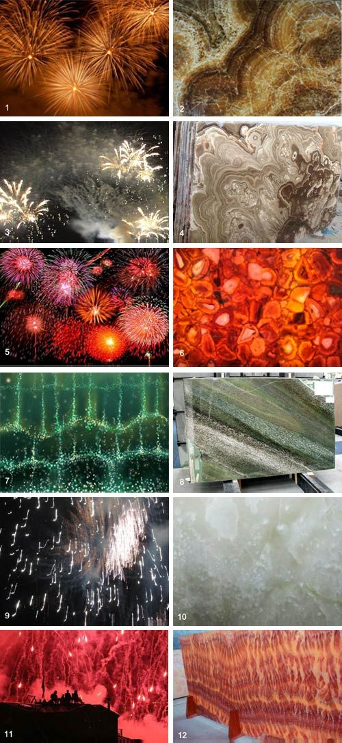 Happy Fourth of July! While your neck is craned towards the sky tomorrow, be thinking about how those wildly colorful bursts could influence your next design. Here we compare images of fireworks (left) to images of natural stones (right)