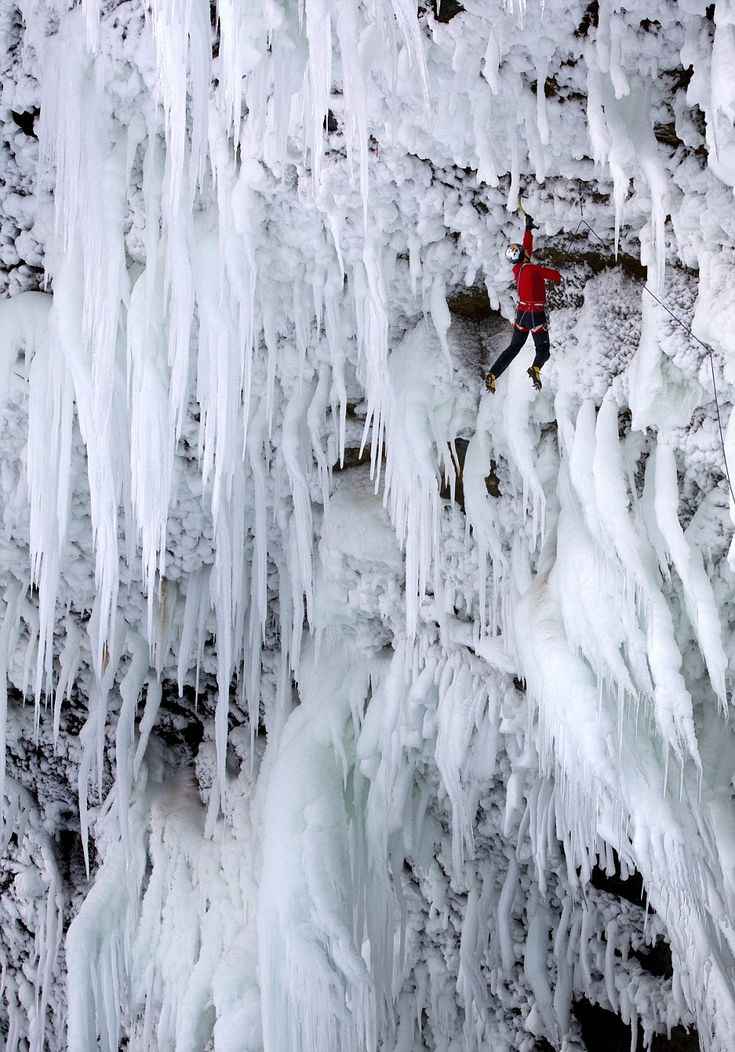 """Will Gadd and Tim Emmett scale a 450ft waterfall back in Dec 11. """"It's like doing hundreds of pull ups on icicles to get to the top."""" Story from dailymail.co.uk"""