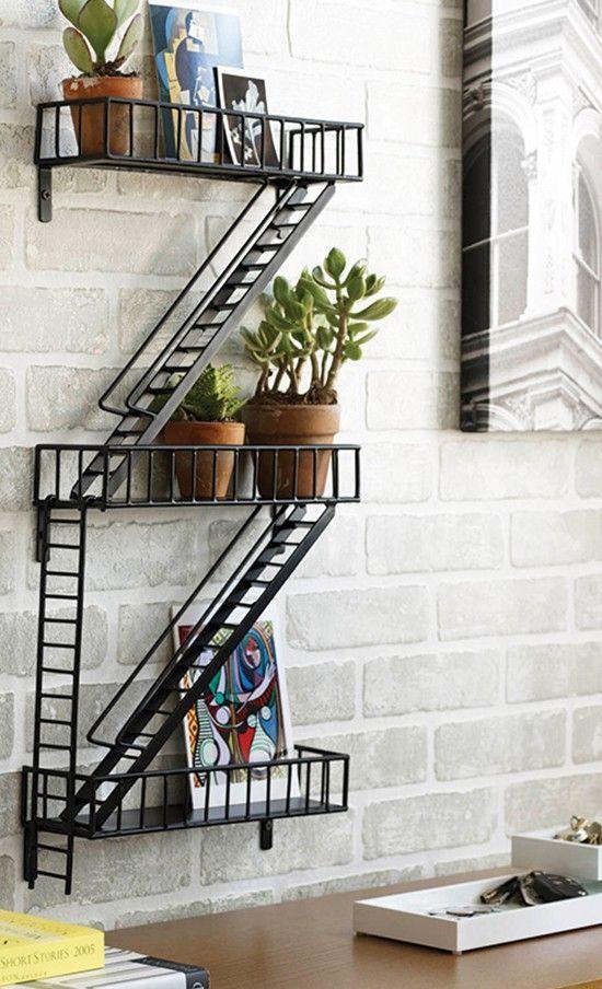 Metropolitan landscape, epoxy-coated, steel, shelf, candles, potted plants, outdoor landscape