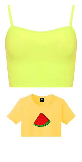 """Yellow shirts"" by cccllaudia on Polyvore featuring tops, crop top, shirts, tank tops, fluorescent yellow, cami crop top, yellow shirt, sheer mesh top, summer shirts and neon yellow shirt"
