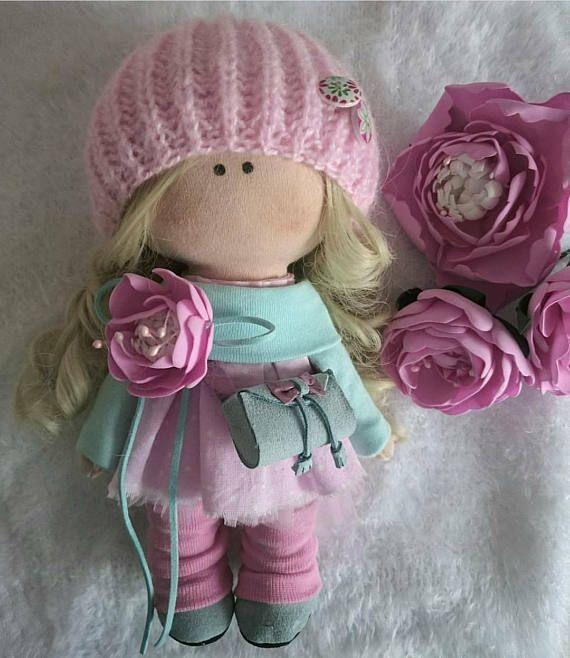 Textile doll Handmade doll Fabric doll Tilda doll Rose doll Soft doll Cloth doll Collectable doll Rag doll Interior doll