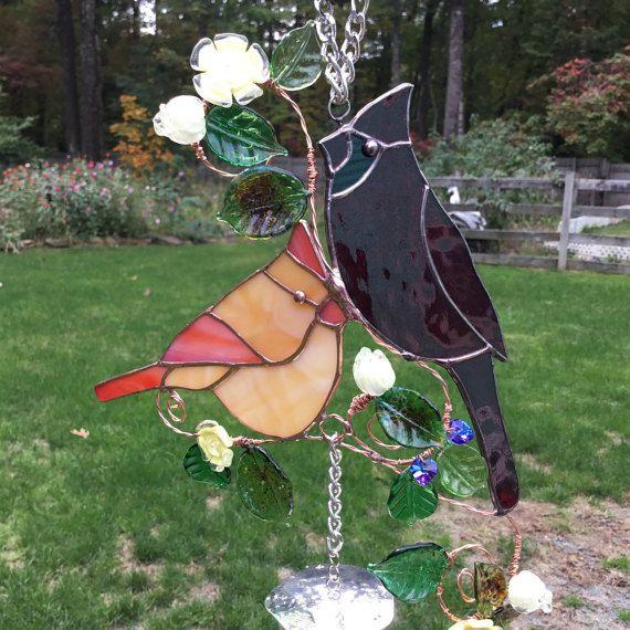 Kardinaal familie gekleurd glas Wind Chime
