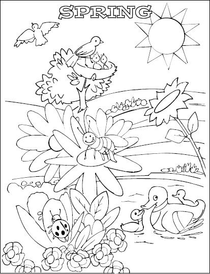 happy spring coloring pages - photo#34