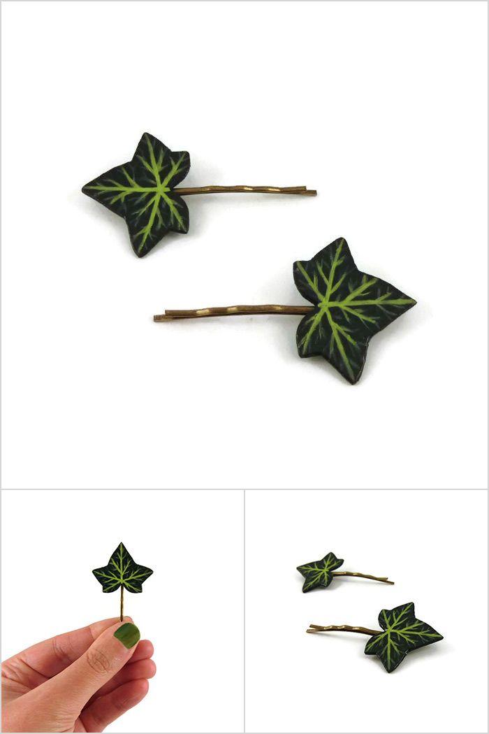 Lot de 2 épingles à cheveux fantaisie en forme de feuilles de lierre vertes - Accessoires de coiffure éco-responsables réalisés sur commande par @savousepate à partir de plastique recyclé peint (CD) - Idée cadeau femme - Mariage champêtre ou boisé