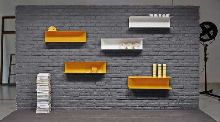 Display of steel shelves in yellow and white