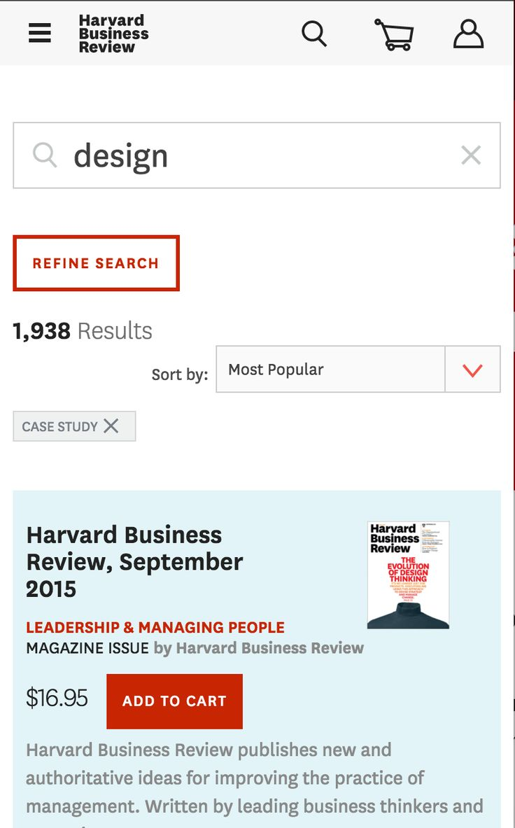 "HBR's search result refined by ""Case study"" content type shown as a tag."