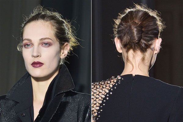 Fall Hair Trends to Try:  Deconstructed bun at Anthony Vaccarello